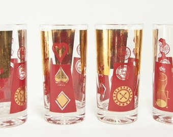 Vintage Barware Highball Glasses, Las Vegas Red And Gold Bar Glasses