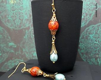 Boho Chic Dangle Earring - Poppy Red Soft Blue Gold Finish - Salwag Nut Glass Pearl Dangle Earring - Handmade Earring