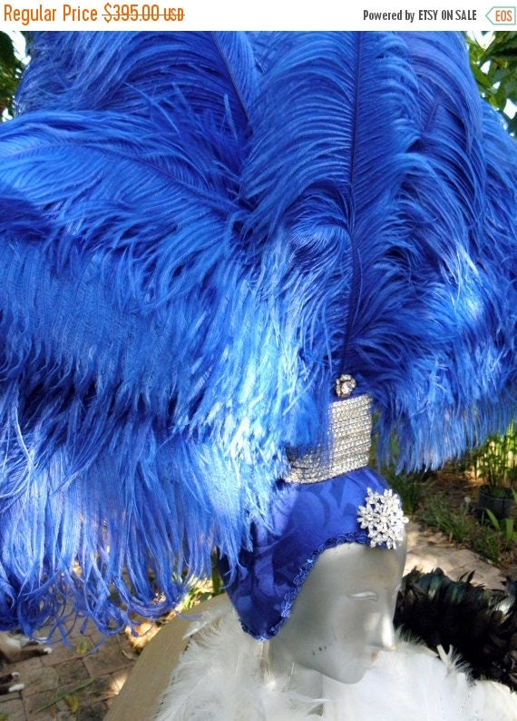 15% OFF Showgirl Blue Feather Headdress Royal Blue, Vegas, Circus, Costume, Burlesque, Pride, Party Drag queen