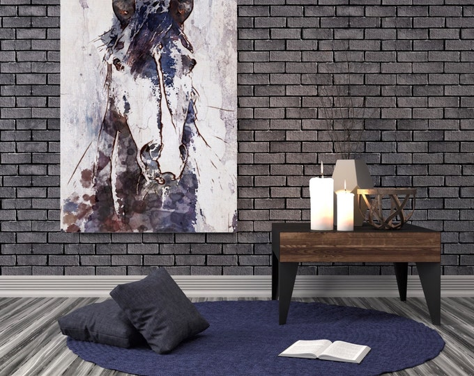 """Mustang Horse. Extra Large Horse, Horse Wall Decor, Brown Purple Rustic Horse, Large Contemporary Canvas Art Print up to 72"""" by Irena Orlov"""