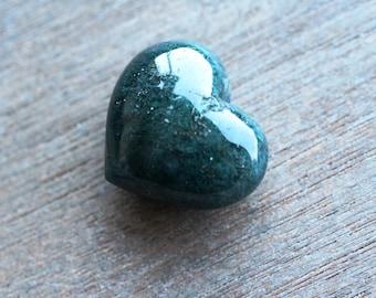 Moss Agate Puffy Heart J50