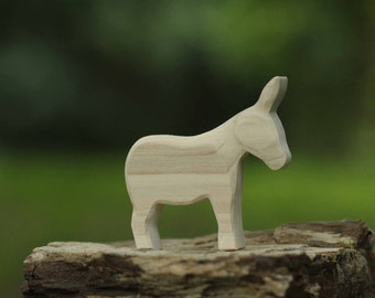 Unfinished Donkey Wooden Toy  - Nature Table - Waldorf Animal