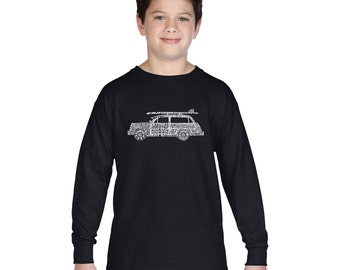 Boy's Long Sleeve T-shirt - Woody - Classic Surf Songs Created using the titles of Classic Surf Rock Songs