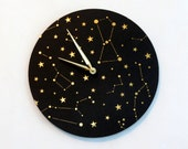 Constellation Wall Clock, Black and Gold Clock, Astrology, Astronomy Clock, Home and Living, Home Decor, Decor & Housewares