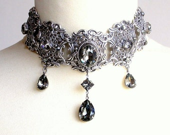 Black Diamond Swarovski Choker Victorian Gothic Silver Choker Bridal Necklace  Choker Gothic Wedding Jewelry