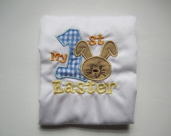 blue gingham My 1st Easter bunny shirt/ personalized Easter bodysuit/ gingham Easter