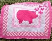 Pink Pig Quilt-----Applique Quilt-----Girl Quilt----Baby Quilt---3D