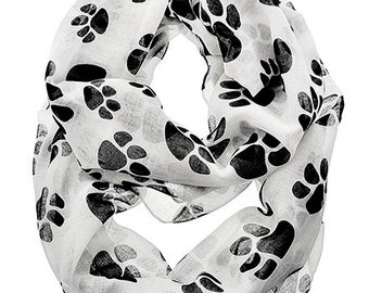 Infinity Puppy Dog Paws Animal Print Sheer Fashion Accessory Scarf Wht