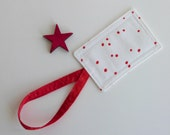 Baggage Tag, Suitcase ID, Gift Card Holder, Albert Hadley Red Polkadot Fabric