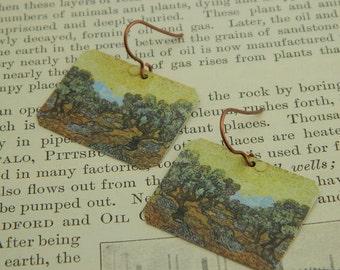 Van Gogh earrings  Olive Trees mixed media jewelry wearable art
