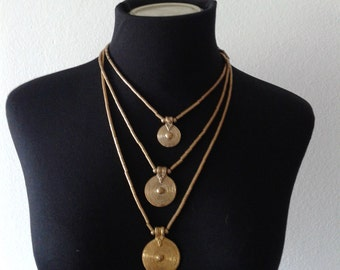 Gold brass necklace, triple pendant necklace, bronze necklace , boho jewelry,
