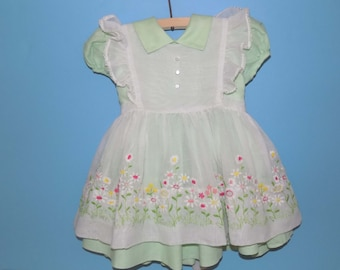 Sz. No Tag, Gorgeous Baby Dress with Pinafore- See Description for Measurements