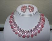 1950's Pink Rhinestone Lucite Vintage Petal Necklace & Earrings Moonglow Silvertone
