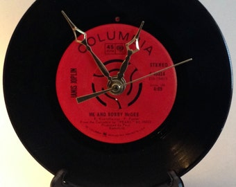 "Recycled JANIS JOPLIN 7"" Record / Me and Bobby McGee / Record clock"