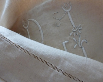 Pure Linen Sheet, King Size, French Antique, Unused  French,  Circa 1930's Monogrammed R.J