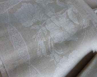 French Art Nouveau Period, Superb Banquet Tablecloth & 12 Napkins, Unused, Circa 1910 ish