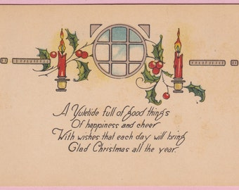 "Ca. 1907 ""Holly and Candles"" Christmas Greetings Postcard - 166"