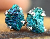 RAW CHALCOPYRITE Sterling Silver 4 Prong Studs 7X5mm