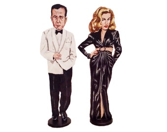 Bogie and Bacall Hand Painted 2D Art Figurines
