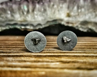 Meteorite Earrings - Crushed Hematite - The Castor and Pollux
