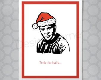 Funny Illustrated Captain Kirk Star Trek Christmas Card