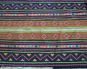 Handwoven Hmong  hemp and cotton, Vintage fabric Indigo cross stitch textiles and fabrics- Table runner,