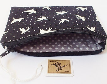 Cute Padded & Lined Mini Make Up Bag Zip Pouch Coin Purse - 3 Fabrics to Choose - Hummingbirds Swallows Ditsy Floral