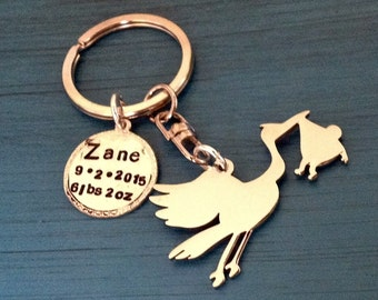 Stork Delivering Newborn Baby, Bird, Pregnant, Expectant Mother, Gift, Pendant, New Baby, Birth