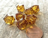 7pcs Amber Acrylic 12mm Hexagon Geometric Beads, Destash Beads, Jewelry Making, DIY, Craft Supplies, Jewelry Supplies