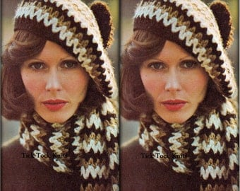 No.493 Crochet Hat & Scarf Pattern PDF Vintage Pattern For Women - V-Pattern Scarf And Beret - 1970's Retro Boho Crochet Pattern