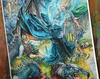 Tolkien print - Eowyn- The Lord of the Rings - The Slaying of the Witch-king - unique gift for any Tolkien fan