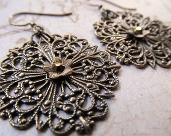 Gold Chandelier Earrings Art Deco Earrings Hoop Earrings 1920s Earrings Filigree Earrings Art Nouveau Earrings Gypsy Earrings- Metallic Lace
