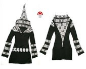 Elf Hoodie Dress Black And White Small Medium Large Snowflake Nordic Alpine Recycled Sweater Patchwork Pixie Fairy Frock Gypsy Tunic