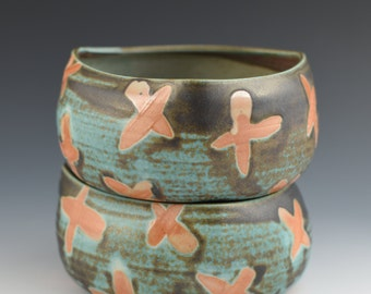 Small Bowl Triangle Style with Aqua and Burnt Orange X Pattern Handmade Pottery