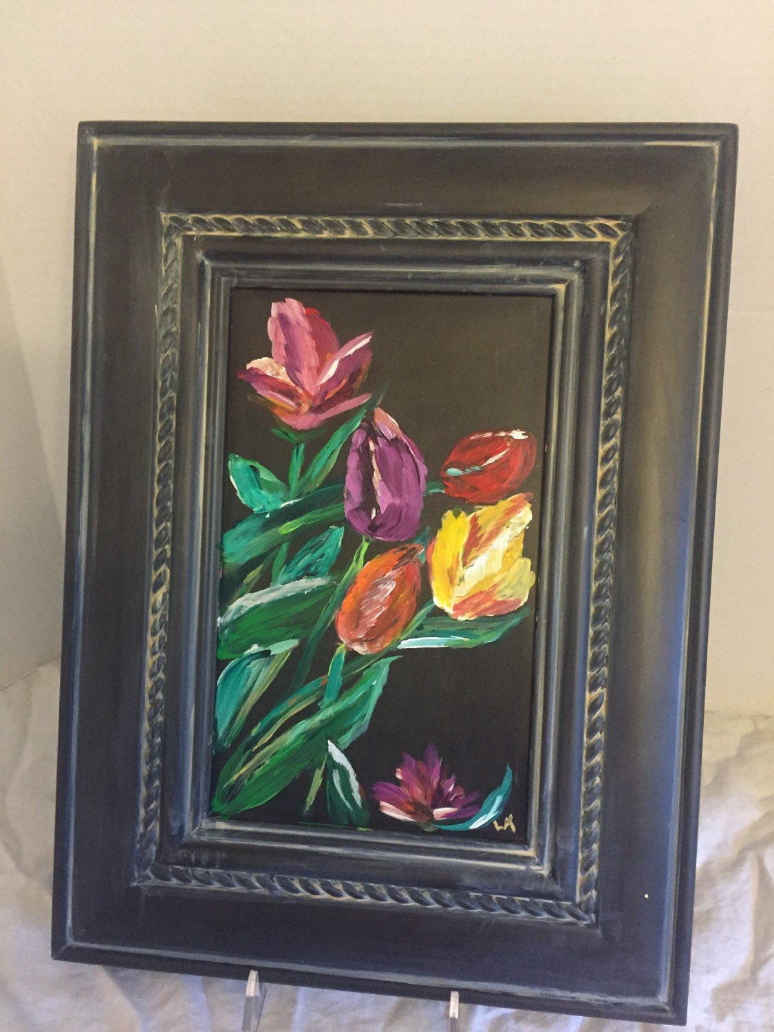 Tulip painting on wood cabinet