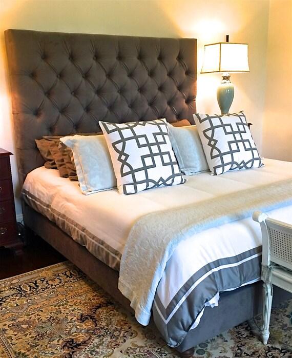velvet diamond tufted headboard and upholstered bed frame set. Black Bedroom Furniture Sets. Home Design Ideas