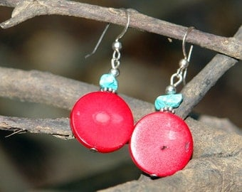 Fire and Ice Red Coral Earrings