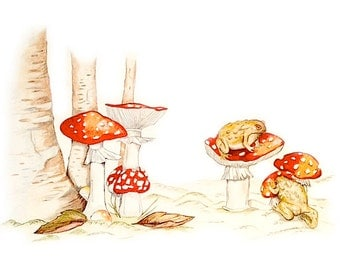 ORIGINAL ARTWORK, Toadstools with Toads, Drawing by Paula Kuitenbrouwer, Woodland Scene Art, Childroom Illustration, Magical Woodland