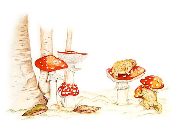 LIMITED EDITION, Toadstools with Toads, Art Print of Pencil Drawing, Woodland Scene Art, Childbook Illustration, Magical Woodland, Mushroom