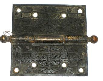 Victorian metal door hinge beautiful floral design 5 x 5 cast iron