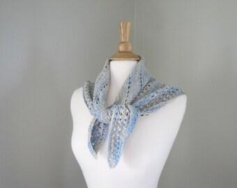 Luxury Shoulder Shawl, Neck Scarf, Silk & Seacell, Hand Knit, Blue  Brown, Prayer Shawl Wrap