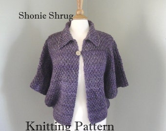 Shonie Shrug Knitting Pattern, Dolman Sleeve Cardigan Sweater, Chunky Yarn, XS - XL