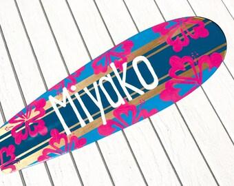 Custom Surfboard Wall Art, Girls Bedroom Decor, Bat Mitzvah Party, Large 36 inch