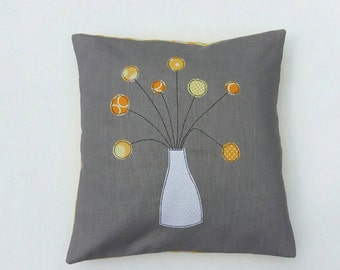"Cushion cover, yellow billy button flowers in vase, free motion applique, grey / gray linen, cotton, 16"" / 40cm."