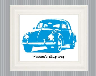 Slug Bug Art, Slug Bug Poster, Slug Bug Bedroom Decor, Boys Bedroom Art, Car Nursery Art, Car Bedroom Wall Art, Personalized Poster