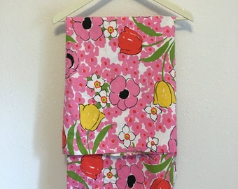 Vintage Bed Sheet, pink flowers, red and yellow tulips, double full flat sheet, 100% cotton