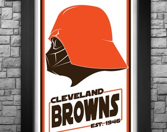 """DARTH VADER """"Cleveland Browns"""" inspired limited edition art print. Available in 3 sizes!"""