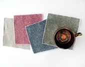 Linen Cotton Chambray Cloth Cocktail Napkins, Green, Blue, Red or Flax, Set of Four