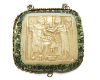 Vintage Egyptian Cameo Y Connector Necklace Finding