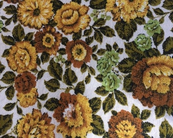 Vintage medium weight cotton fabric, yellow gold and brown roses